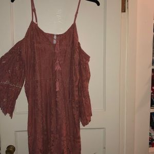 Floral Lace Bell Sleeve Cold Shoulder Dress
